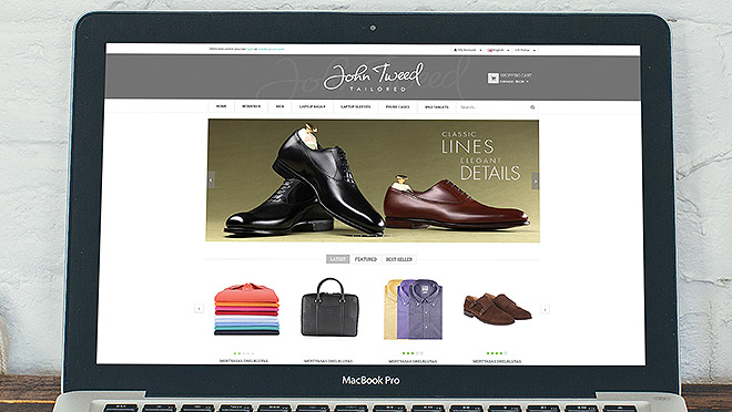Creation of website and online store John Tweed