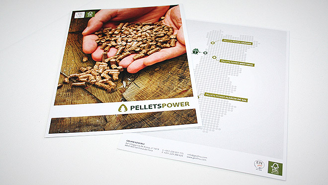 Design de folheto Pellets Power